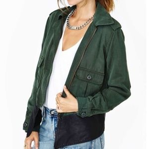 BB Dakota Collective Green Zip Up Leather Jacket